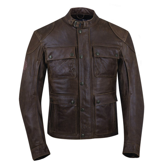 MENS BENJAMIN RIDING JACKET - BROWN LEATHER