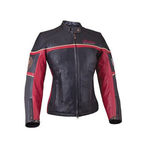 WOMEN FREEWAY RIDING JACKET - BLACK/RED LEATHER