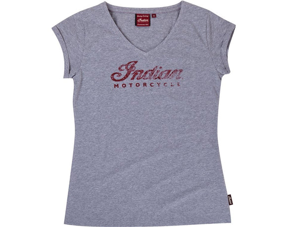 WOMENS LOGO V-NECK TEE - GREY
