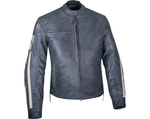 MENS PERFORATED ROUTE LEATHER RIDING JACKET - GREY