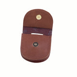 Leather Key Fob Carrier with Embossed Logo, Brown