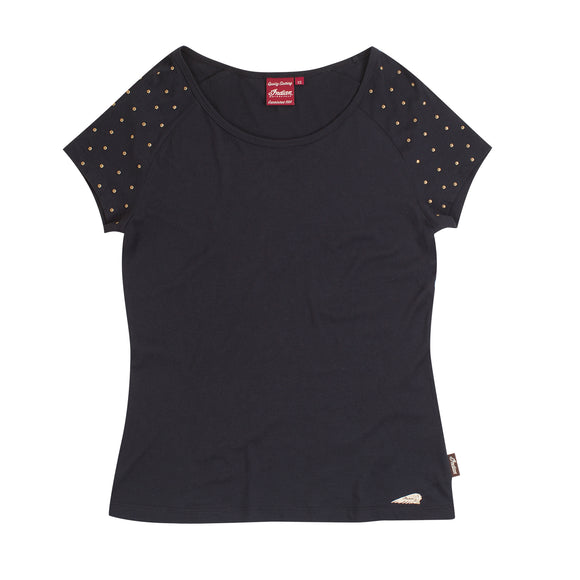 WOMENS STUD SHOULDER TEE