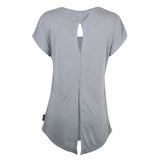 Women's Open-Back T-Shirt with Circle Icon Logo, Gray