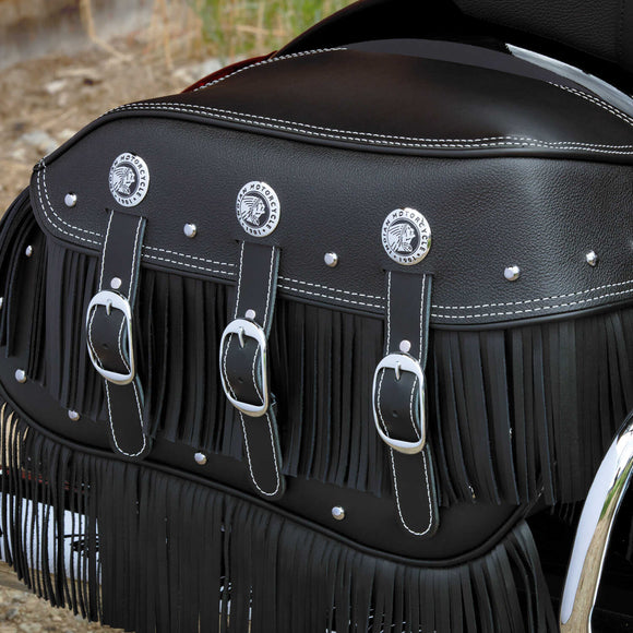 Genuine Leather Upper Saddlebag Fringe - Black