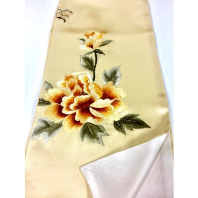 Hand Embroidered Silk Scarf - Snow Blossom