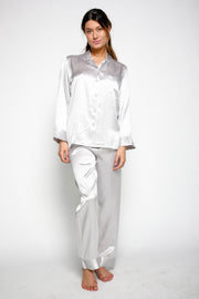Silk Pyjamas For Ladies - Silver Grey - Snow Blossom