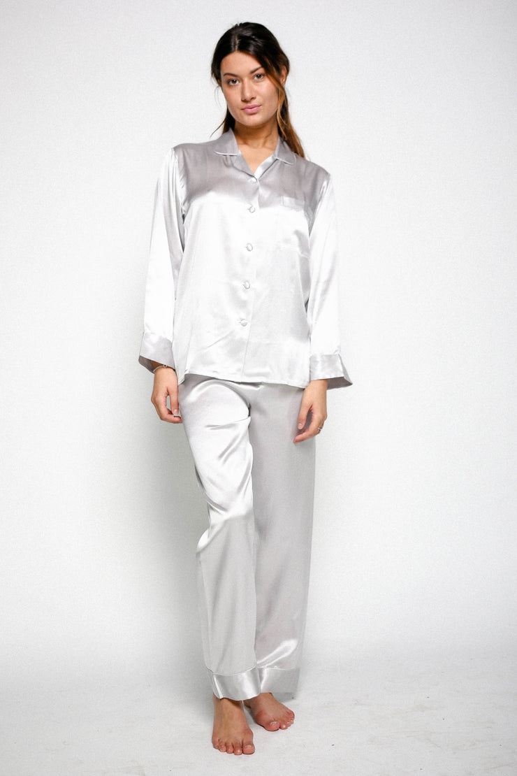 Silk Pyjamas For Ladies - Ivory - Snow Blossom Limited