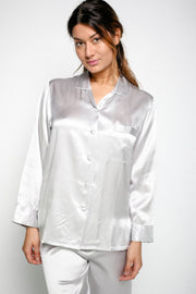 Silk Pyjamas For Ladies - Silver Grey - Snow Blossom Limited
