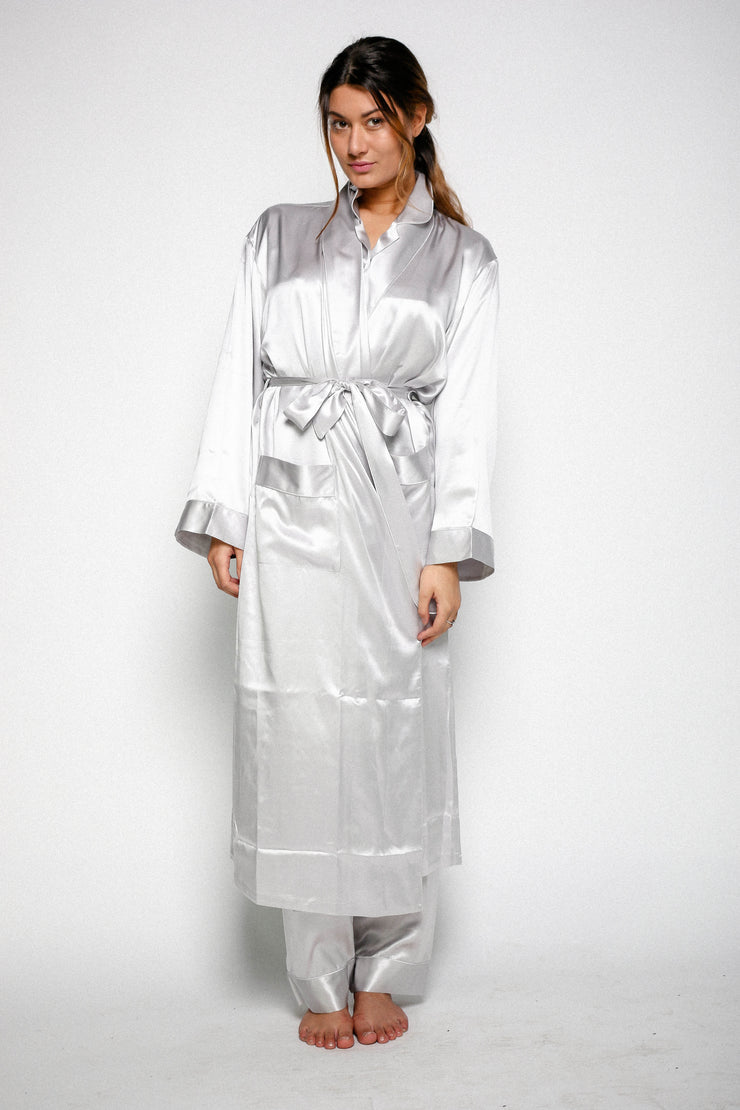 Silk Dressing Gowns -Elizabeth - Snow Blossom
