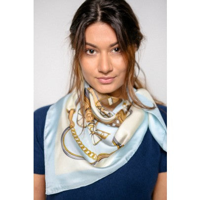100% Pure Silk Scarves - Carriage - Snow Blossom