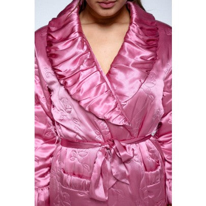 Padded Silk Dressing Gown - Pink - Snow Blossom