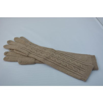 Pure Cashmere Gloves - Cable Long - Snow Blossom