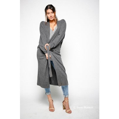 Cashmere Long Cardigan/Dressing Gown - Snow Blossom