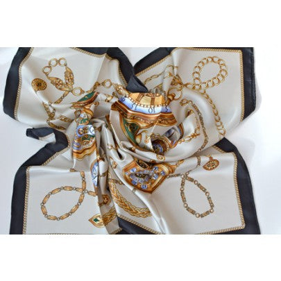 100% Pure Silk Scarves - Stirrups - Snow Blossom