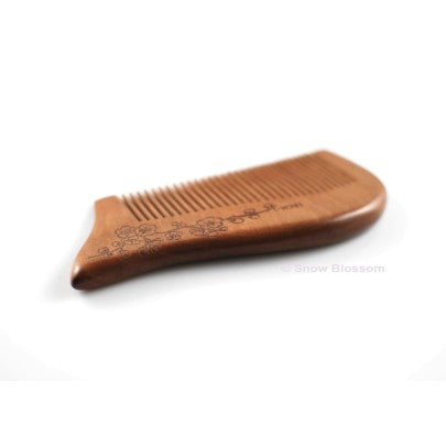 Sweet Peach Wood Comb For Pocket 004 - Snow Blossom