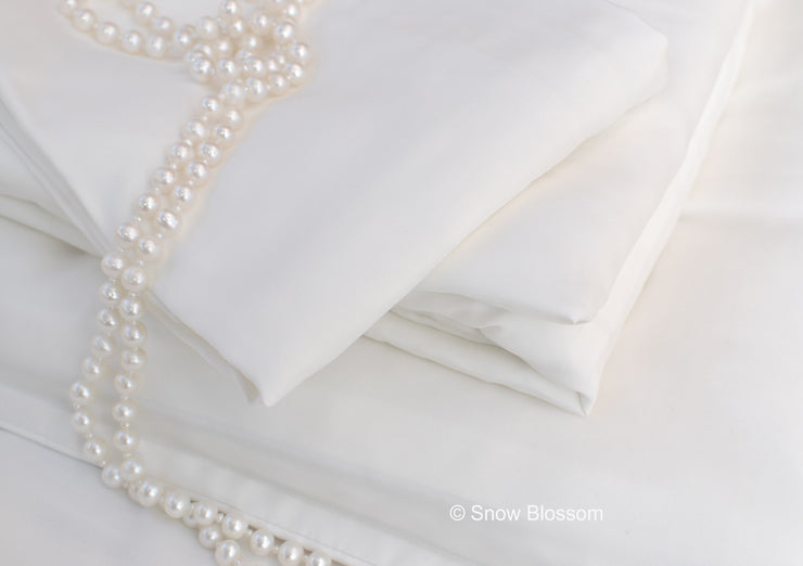 Habotai Silk Fitted Sheets - Snow Blossom