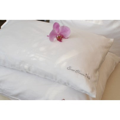 Travel Silk Filled Pillow Encased With Cotton - Snow Blossom