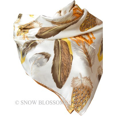Feather Pure Silk Scalves - Snow Blossom