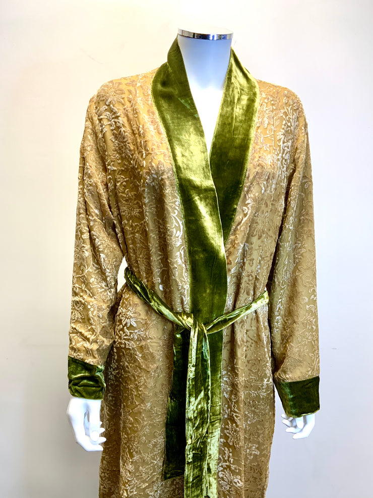 Silk Dressing Gown With Silk Lining - Rosemary - Snow Blossom Limited
