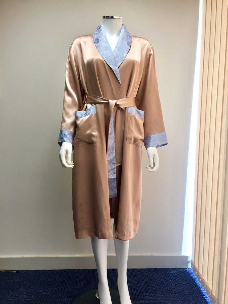 Silk Dressing Gown With Lining - Edith - Snow Blossom Limited
