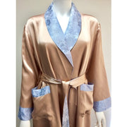 Silk Dressing Gown With Lining - Edith - Snow Blossom