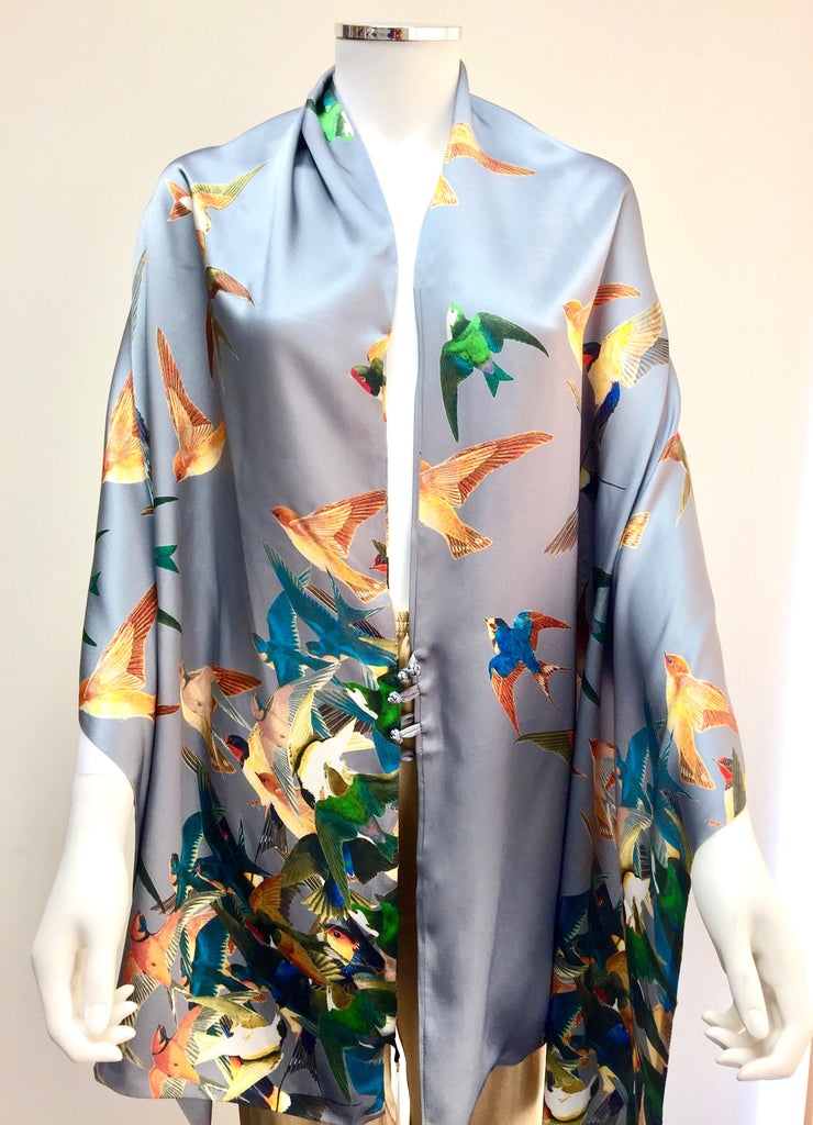 Silk Stole - Birds - Snow Blossom Limited
