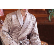 Padded Silk Dressing Gown For Men - Snow Blossom