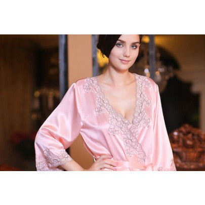 Silk Dressing Gown With Lace - Snow Blossom