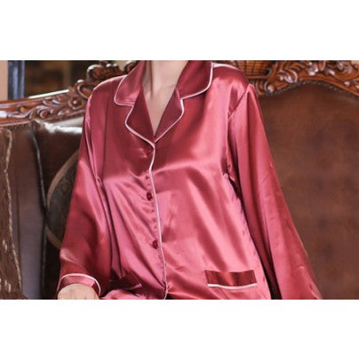 Silk Pyjamas For Ladies -Ruby Red - Snow Blossom