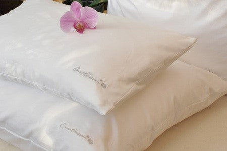 Silk Filled Pillows With Cotton Casing - Snow Blossom