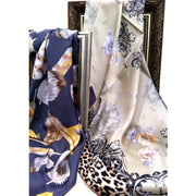 100% Pure Silk Scarves - Rose & Leopard - Snow Blossom Limited
