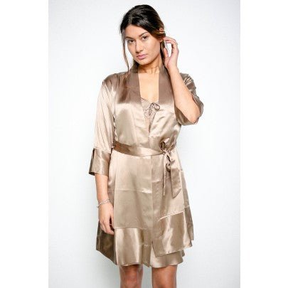 Silk Chemise With Dressing Gown - Monica - Snow Blossom