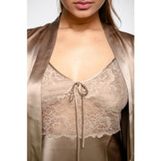 Silk Chemise With Dressing Gown - Monica - Snow Blossom Limited