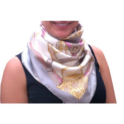 100% Pure Silk Scarves - Stirrups - Snow Blossom Limited