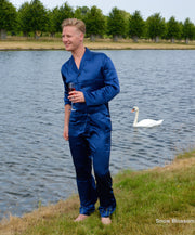 Silk Pyjamas For Men - Snow Blossom