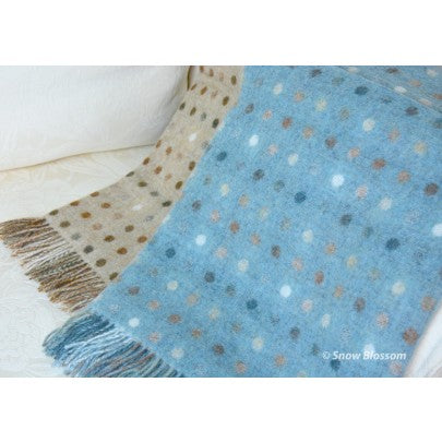 Pure New Wool Blanket Spots - Snow Blossom