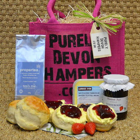 Cream Tea Gift Hamper. Raspberry Bag