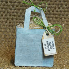 Small Aqua Jute Bag (max 5 items)