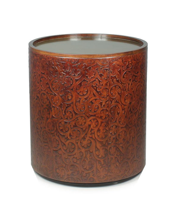 murcia-leather-embossed-drum-side-table