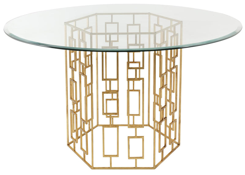 "Noel 54"" Gold Leaf Glass Dining Table"