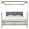 Aiden Acrylic Canopy Bed Queen / Gold-Grey