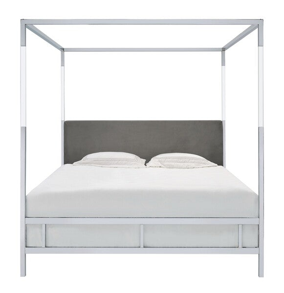Aiden Acrylic Canopy Bed/ Grey (Queen)