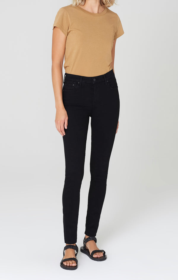 rocket long mid rise skinny fit all black front