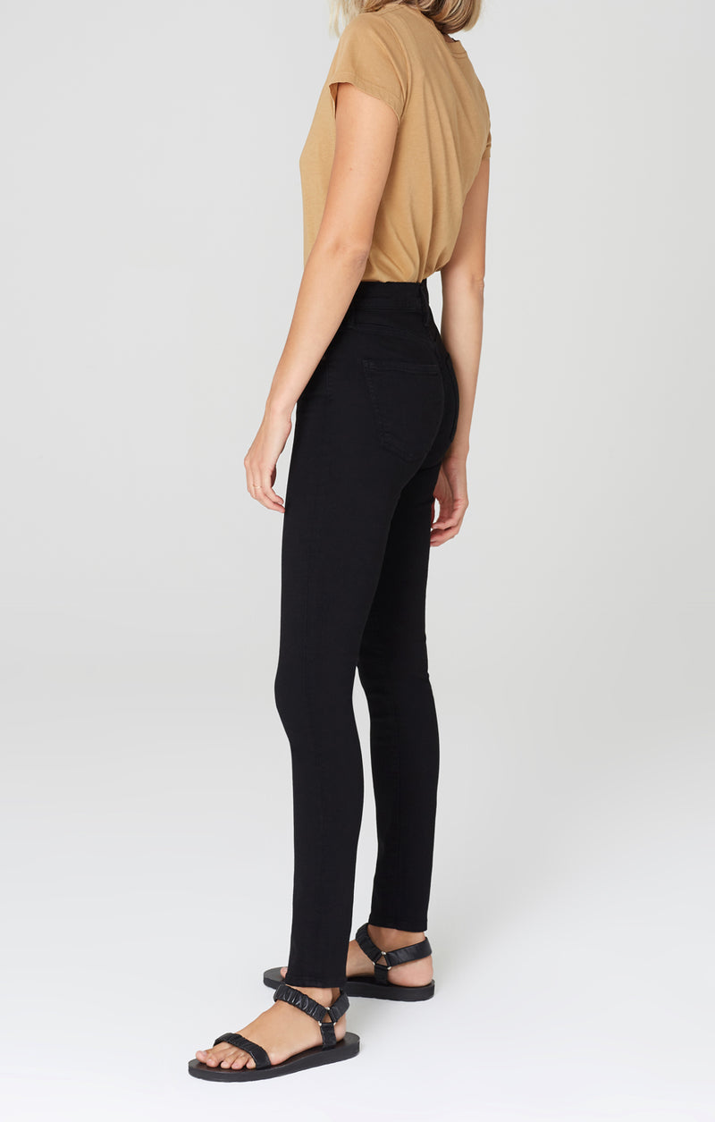 rocket long mid rise skinny fit all black side