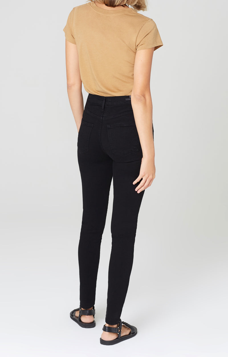 rocket long mid rise skinny fit all black back