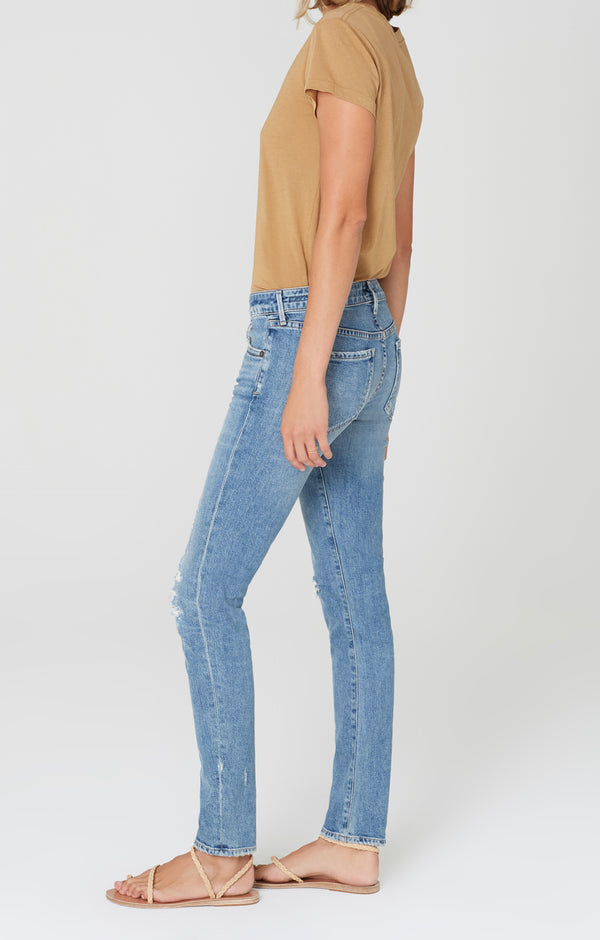 Racer Low Rise Skinny in Distressed Encore