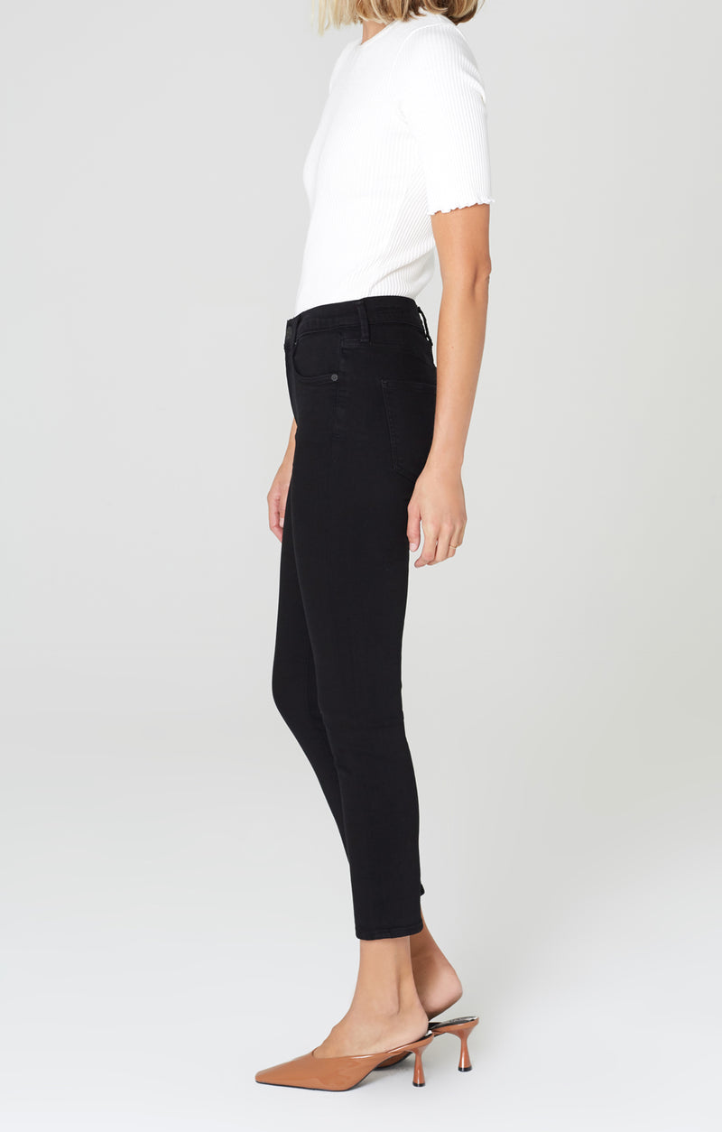 rocket crop mid rise skinny fit plush black side
