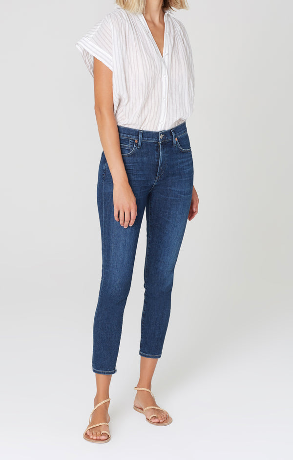 Rocket Crop Mid Rise Skinny Fit Carmel Front