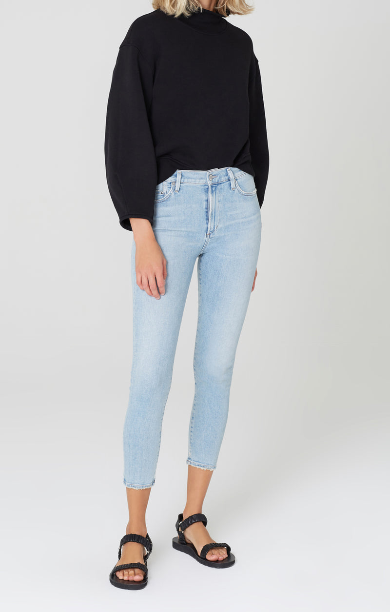 Rocket Crop Mid Rise Skinny Fit Soft Fade Front