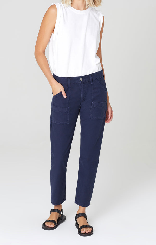 leah cargo pant washed navy front